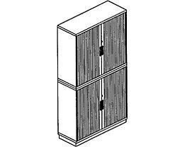 office akktiv CARINA Armoire à rideaux à lames verticales - 3 hauteurs classeurs en haut et en bas