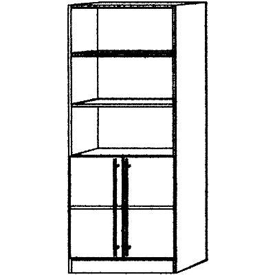 VIOLA Regalschrank - 2 Fachböden offen, 1 Fachboden hinter Türen