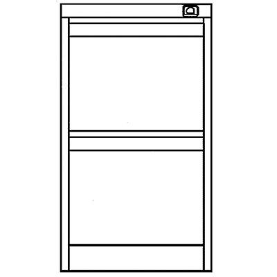 Bisley Hängeregistraturschrank - 2 Hängerahmen-Schübe für je 1 Bahn DIN A4 quer