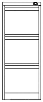 Bisley Hängeregistraturschrank - 3 Hängerahmen-Schübe für je 1 Bahn DIN A4 quer