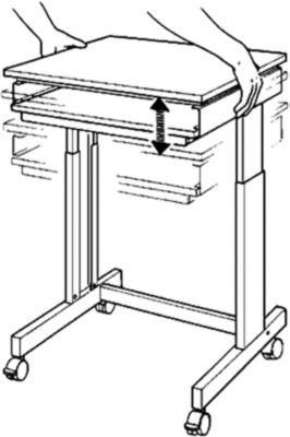 Twinco Terminaltisch - Breite x Tiefe 600 x 500 mm - höhenverstellbar von 720 – 1100 mm