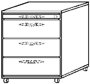 FINO Rollcontainer - 1 Utensilienschub, 3 Schubladen