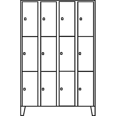 Wolf Schließfachschrank - 4 Abteile, 12 Fächer