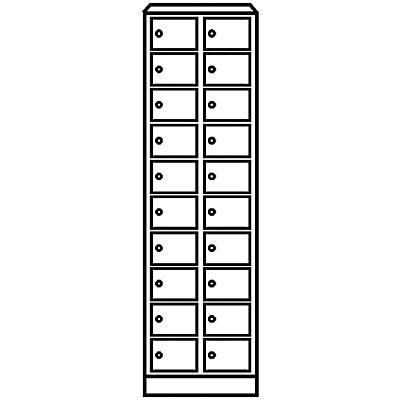 Wolf – Kleingefachschrank - 20 Fächer, HxB 1800 x 600 mm