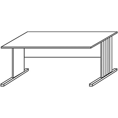 Wellemöbel BASIC-II Schreibtisch mit C-Fuß-Gestell - Breite 1200 mm, höhenverstellbar