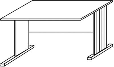 BASIC-II Schreibtisch mit C-Fuß-Gestell, ein Fuß verkürzt - Breite 800 mm