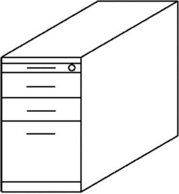 BASIC-II Standcontainer - mit Utensilienschub,  2 Materialschüben, 1 Hängeregistratur