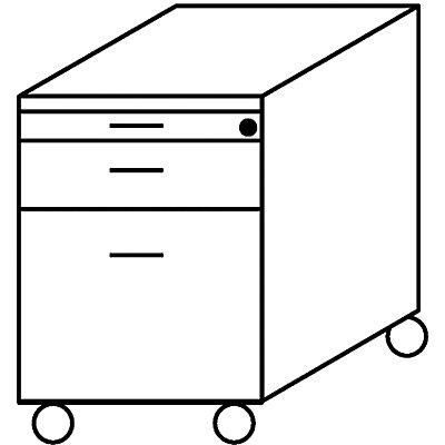 BASIC-II Rollcontainer - mit Materialschub und Hängeregistratur, Tiefe 600 mm