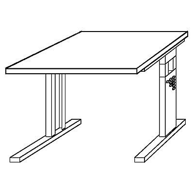 Hammerbacher FINO Schreibtisch mit C-Fußgestell - höhenverstellbar 680 – 760 mm, BxT 800 x 800 mm - lichtgrau