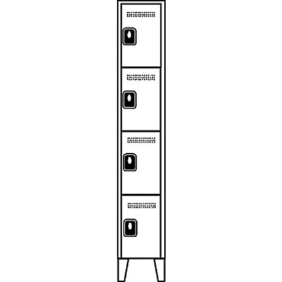 Wolf Garderobenschrank, Fachhöhe 410 mm - HxBxT 1850 x 300 x 500 mm, Abteilbreite 300 mm
