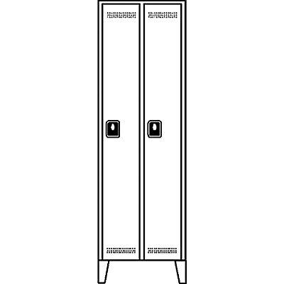 Wolf Garderobenschrank, Fachhöhe 1700 mm - HxBxT 1850 x 800 x 500 mm, Abteilbreite 400 mm