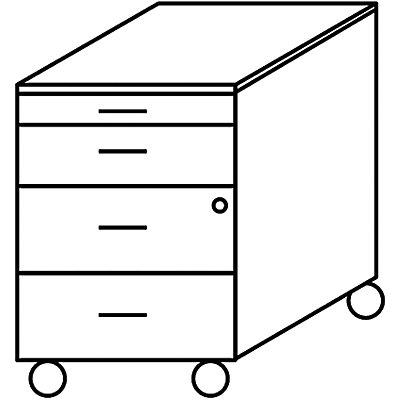 Wellemöbel VERA Rollcontainer - 1 Utensilienschub, 3 Schubladen