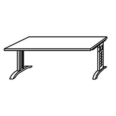 office akktiv ANNY Schreibtisch – Breite 1600 mm mit C-Fuß-Gestell - lichtgrau