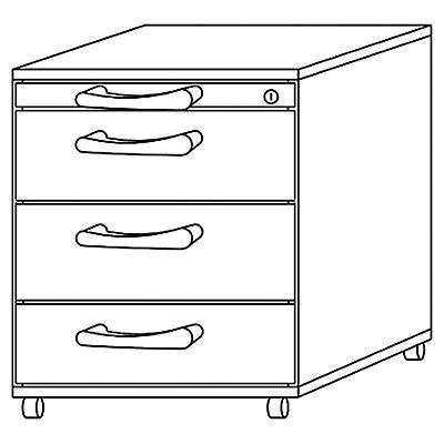 office akktiv ANNY Rollcontainer - 1 Utensilienschub, 3 Materialschübe, Tiefe 553 mm