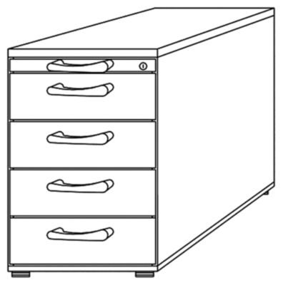 office akktiv ANNY Standcontainer - 1 Utensilienschub, 4 Materialschübe