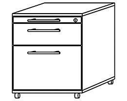 office akktiv NICOLA Caisson roulant - 1 tiroir, 1 tiroir pour dossiers suspendus, 1 tirette-plumier