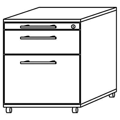 office akktiv NICOLA Rollcontainer - 1 Materialschub, 1 Hängeregistratur, 1 Utensilienschub