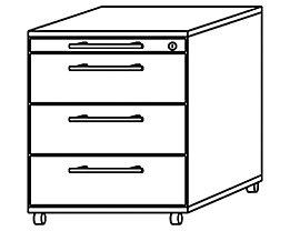 office akktiv NICOLA Büro-Rollcontainer - 3 Materialschübe, 1 Utensilienschub - lichtgrau