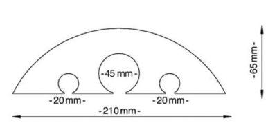 Schlauch- und Kabelbrücke - für Kabel bis 45 mm Ø, gelb - LxBxH 1500 x 210 x 65 mm