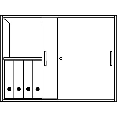 office akktiv STATUS Aufsatzschrank - 1 Fachboden, mit Schiebetüren, stapelbar - alusilber / Buche-Dekor