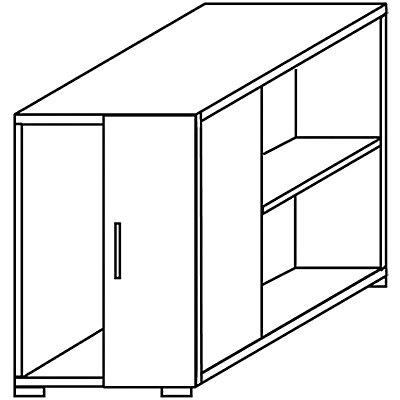 CLEARLINE Anstellcontainer - mit Schrank- und 2 Regalfächern