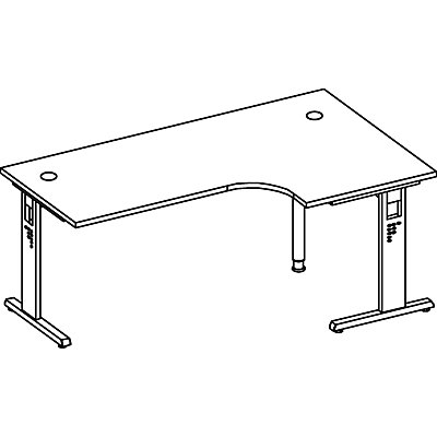 FINO Freiformtisch, höhenverstellbar - 650 – 850 mm, BxT 2000 x 1200 mm