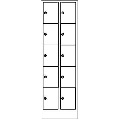 Wolf Schließfachschrank in Komfort-Größe - 10 Fächer, Breite 600 mm