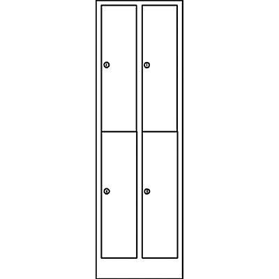 Wolf Garderobenschrank in Komfort-Größe - 4 Abteile, Abteilbreite 400 mm