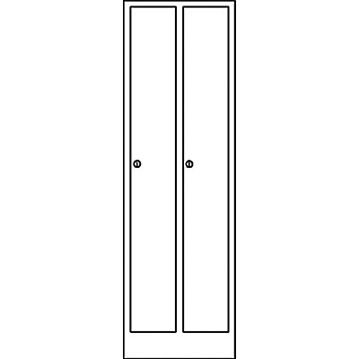 Wolf Garderobenschrank in Komfort-Größe - 2 Abteile, Abteilbreite 400 mm