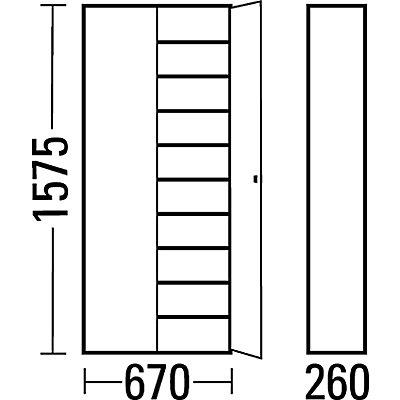 EUROKRAFT Materialschrank aus Stahlblech - Höhe 1575 mm, mit Lagerkästen