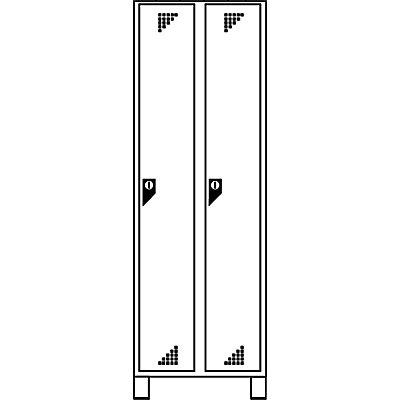 EUROKRAFT Garderobenschrank, Abteilhöhe 1676 mm - HxBxT 1800 x 600 x 500 mm, 2 Abteile