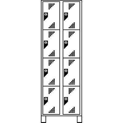 EUROKRAFT Schließfachschrank, Fachhöhe 418 mm - HxBxT 1800 x 800 x 500 mm, 8 Abteile