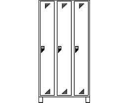 EUROKRAFT Vestiaire, hauteur compartiments 1676 mm - h x l x p 1800 x 900 x 500 mm, 3 compartiments