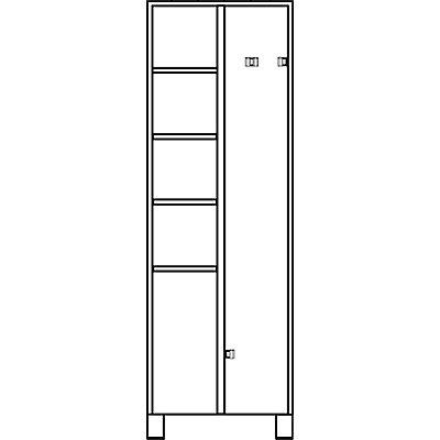 EUROKRAFT Mehrzweckschrank, links 4 Fachböden, rechts 4 Klemmhalter - HxBxT 1800 x 800 x 500 mm - komplett lichtgrau