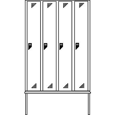 EUROKRAFT Garderobenschrank mit untergebauter Sitzbank - 4 Abteile, Breite 1200 mm