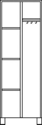 EUROKRAFT Mehrzweckschrank, links 3 Fachböden, rechts Hutboden, Kleiderstange - HxBxT 1800 x 800 x 500 mm
