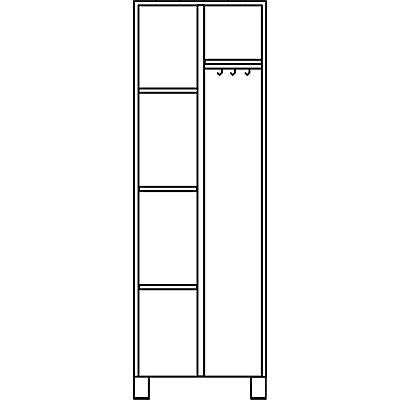 EUROKRAFT Mehrzweckschrank, links 3 Fachböden, rechts Hutboden, Kleiderstange - HxBxT 1800 x 600 x 500 mm - komplett lichtgrau