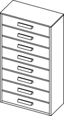 Schubladenmagazin, Schubladen glasklar - HxBxT 551 x 306 x 155 mm, Gehäuse-Traglast 60 kg, 8 Schubladen