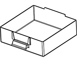Schublade glasklar, Polystyrol - HxBxT 58 x 167 x 184 mm - VE 4 Stk