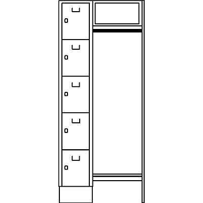 Wolf Schließfachgarderoben-System - 5 Abteile links, 5 Kleiderbügel
