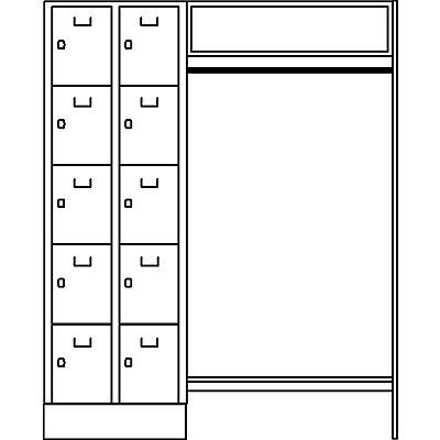 Wolf Schließfachgarderoben-System - 10 Abteile links, 10 Kleiderbügel