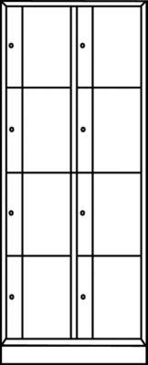 CP Schließfachschrank - HxBxT 1950 x 770 x 540 mm, 8 Fächer