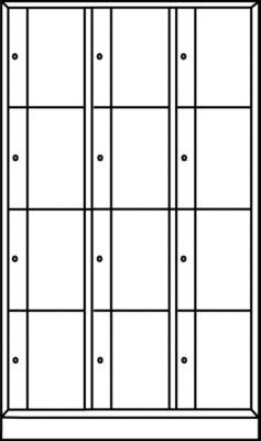 CP Schließfachschrank - HxBxT 1950 x 1150 x 540 mm, 12 Fächer