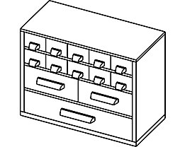 Bloc-tiroirs - h x l 238 x 306 mm, 13 tiroirs