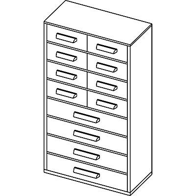 Schubladenmagazin - HxB 551 x 306 mm, 12 Schubladen
