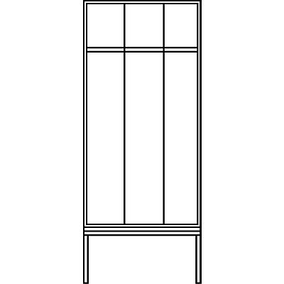 CP Garderobenschrank mit untergebauter Sitzbank - Abteilbreite 400 mm, HxBxT 2090 x 1200 x 815 mm