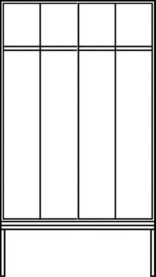 CP Garderobenschrank mit untergebauter Sitzbank - Abteilbreite 300 mm, HxBxT 2090 x 1200 x 815 mm