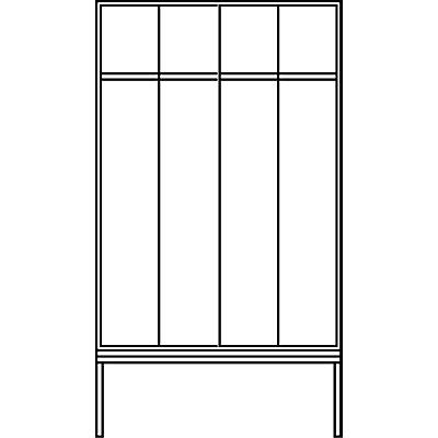 CP Garderobenschrank mit untergebauter Sitzbank - Abteilbreite 400 mm, HxBxT 2090 x 1600 x 815 mm
