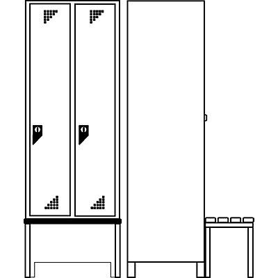 EUROKRAFT Garderobenschrank mit vorgebauter Sitzbank - 2 Abteile, Breite 800 mm