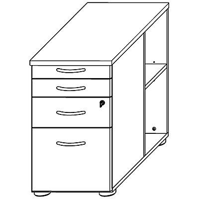 Wellemöbel VERA Anstellcontainer - 2 offene Fächer, seitlich